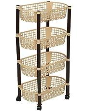 Aristo Multipurpose Plastic Storage Rack 4 Shelf/Multi Purpose/Kitchen/Living Room/Rack (40.5 cm x 26.5 cm x 62 cm)