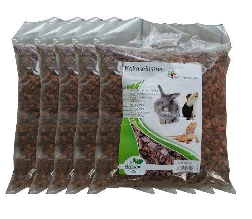 Litière de noix de coco grossier, 50 litres (0,56 euros/litre), s'utilise comme revêtement pour les sols de cage, notamment les cages à lapins, cobayes, hamster, dègues, rats et autres rongeurs, convient également aux serpents, tortues et autres reptiles