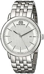 88 Rue du Rhone Mens 87WA130016 Double 8 Origin Analog Display Swiss Quartz Silver Watch