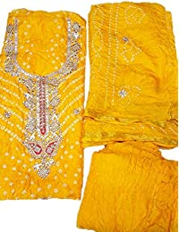 NS Creation Women's Art Silk Bandhej Dress Meterial With Gota Patti Work Dupatta With Crep Bottom (SN-396_Light...