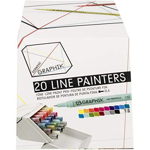 derwent-graphik-line-painter-bunte-fineliner-palette-nr-1-5-stuck-packung-set-of-20-jungle-graphite-