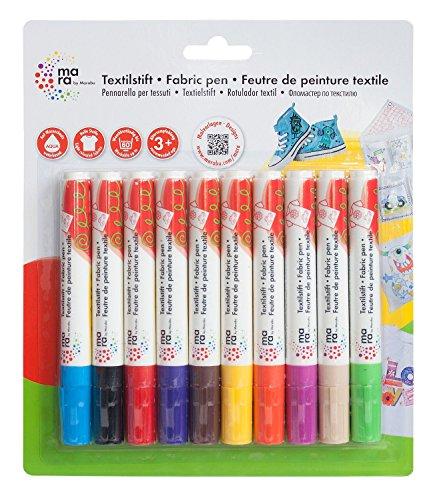mara by Marabu Marabu 043000201 - Textil-/Stoffmalstifte für Kinder in Leuchtenden Farben, für Helle Stoffe, bis 60° Waschbar, 10er Set