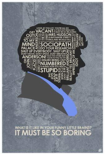 Northwest Art Mall Sherlock Holmes, Benedict Cumberbatch, ES Müssen so Langweilig Wort Kunstdruck Poster ({outputsize. shortdimensions}) von Künstler Stephen Poon. 12x18 inch