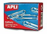 Apli paper - Caja clips niquelados