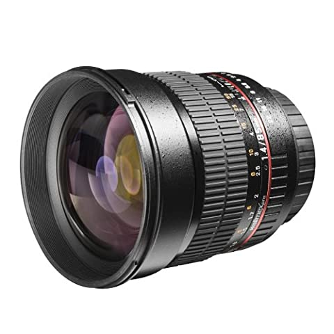 Walimex Pro 85 mm 1:1.4 DSLR-Objektiv AE (Filterdurchmesser 72 mm, mit abnehmbarer Gegenlichtblende) für Nikon F Objektivbajonett