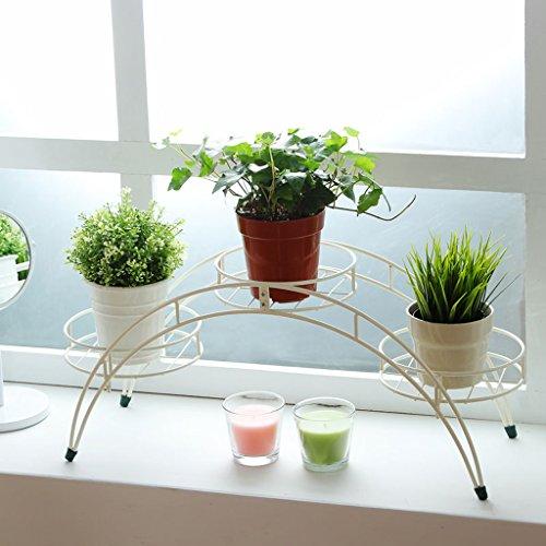 Support à Fleurs Fleur Support en Métal Support Plante en Pot avec 3 Supports pour Plante en Pot de Rangement (Blanc)