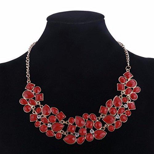 Femme Alliage Collier Réglable De La Mode De Luxe Gemme Exagérée La Chaîne De La Clavicule red