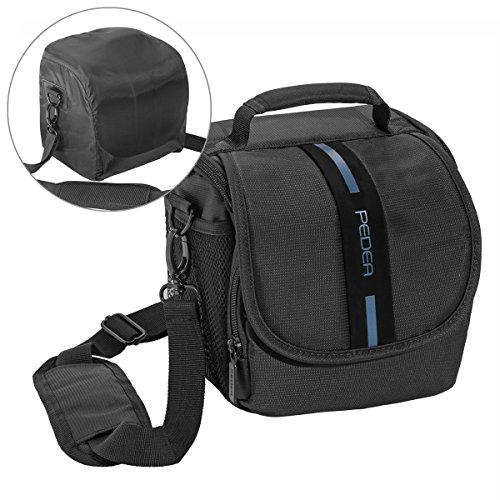"""PEDEA """"Essex"""" SLR-Kameratasche mit Regenschutz, Tragegurt und Zubehörfächer Gr. M, schwarz/blau"""