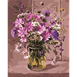 CaptainCrafts New Paint by Numbers 16x20  for Adults, Kids LINEN Canvas - Tradescantia Fragrant Purple Flowers