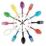 Reloj de cocina efecto espejo con diseño de cuchara, tenedor, cubertería, adhesivo extraible en 3D para decoración del hogar