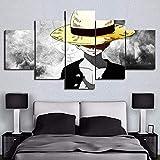 BOYH One Piece Luffy Poster Impressions sur Toile 5 pièces HD Moderne Art Mural Accueil Décorations,B,30×50×2+30×70×2+30×80×1