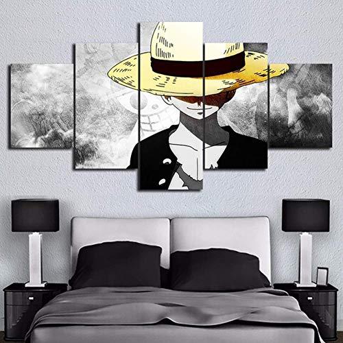 5 Stücke Drucken auf Leinwand One Piece Animation Poster Modular Bilder HD Wand Kunst Dekoration Wohnzimmer oder Schlafzimmer,A,30×50×2+30×70×2+30×80×1