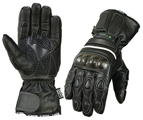 Wasserdicht, thermisch, Carbon, Motorrad Leder Handschuhe - Medium