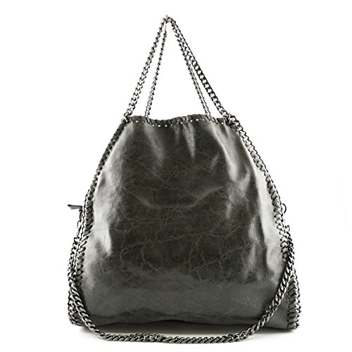 Borsa Donna In Pelle A Tracolla Colore Grigio Scuro - Pelletteria Toscana Made In Italy - Borsa Donna