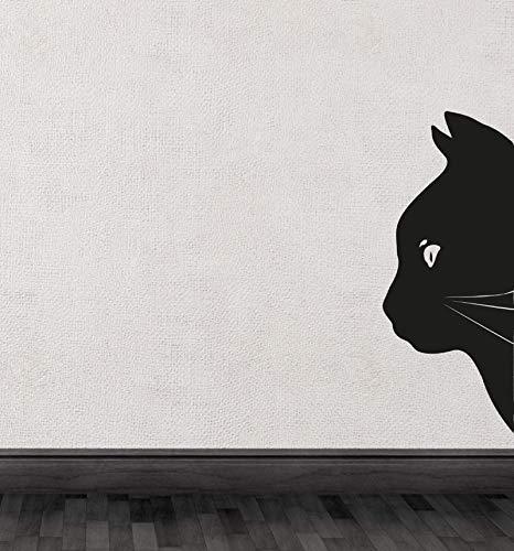 Black Cat Head Half Silhouette Cute Special Wall Decals Art Unique Decor 32x75cm
