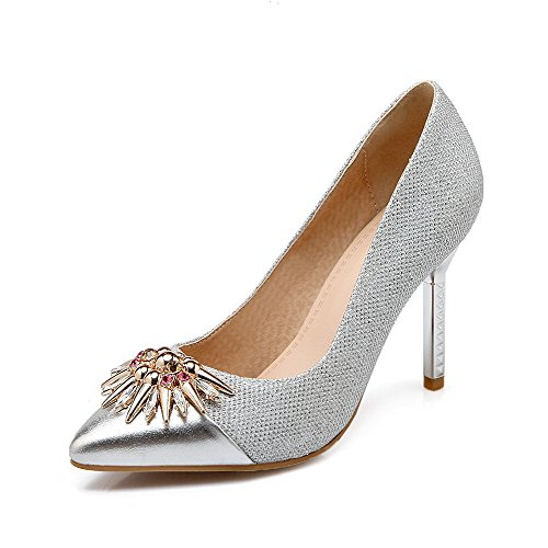 AllhqFashion Femme Stylet Couleur Unie Tire Pointu Fermeture D'Orteil Chaussures Légeres Argent