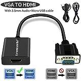 Lemorele VGA Adapter auf HDMI mit Audio, 1080p 60Hz HDMI Buchse auf VGA Stecker Konverter, USB Ladekabel Anschluss Computer Laptop PC zu HDTV Monitor Projektor-Schwarz