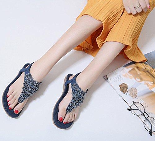 Minetom Femmes Été Bohémien T Strap Plate Sandales Sucrées Perlées Strass Peep Toe Flip Flops Tongs Grande Taille Plage Chaussure Bleu