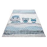 Carpetsale24 Kinder Teppiche für Kinderzimmer, Babyzimmer, Spielteppich Tiermotive lustige Nilpferd Panda und Esel, Multi Farben Blau Grau Weiss_0530, Maße:80x150 cm