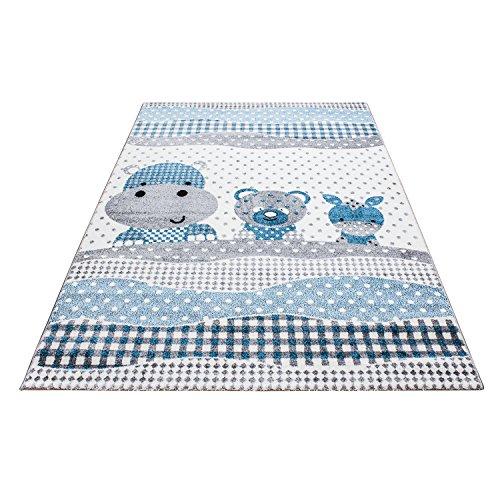 Carpetsale24 Kinder Teppiche für Kinderzimmer, Babyzimmer, Spielteppich Tiermotive lustige Nilpferd Panda und Esel, Multi Farben Blau Grau Weiss_0530, Maße:80x150 cm -
