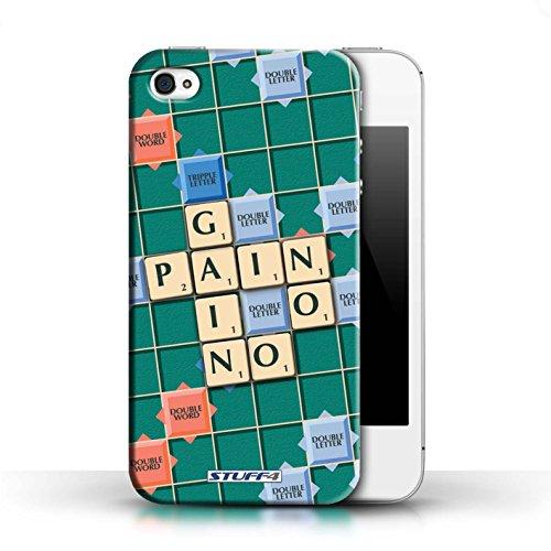 Kobalt® Imprimé Etui / Coque pour Apple iPhone 4/4S / Ignorance Béatitude conception / Série Mots de Scrabble Aucun Douleur Gain