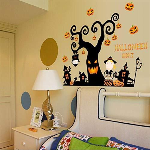 Halloween nacht wandaufkleber diy schrecklichen baum zimmer geist zimmer kürbis lichter dekorative malerei schlafzimmer wohnzimmer - Halloween-geister-baum Diy