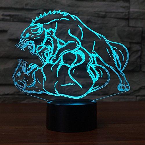 Jinson well 3D Wolf Lampe optische Illusion Nachtlicht, 7 Farbwechsel Touch Switch Tisch Schreibtisch Dekoration Lampen perfekte Weihnachtsgeschenk mit Acryl Flat ABS Base USB Kabel kreatives Spielzeug