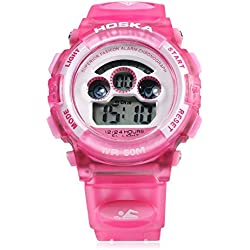 Leopard Shop HOSKA H001S Children Sports Wristwatch LED Digital Watch Day Chronograph LED Water Resistance Pink
