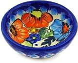 Polish Pottery 2-inch Bowl (Bold Poppies Theme) Signature UNIKATCertificate of Authenticity