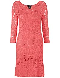 TopsandDresses Ladies UK Size Plus Size 20-30 Crochet Lined Dress In Ivory or Coral