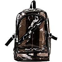 nalmatoionme Lovely mujer chica con cremallera Fashion transparente claro mochila bolsa de plástico escuela bolsa Bookbag (negro)