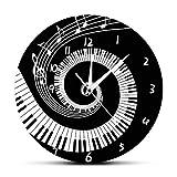 GZGJ Elegante Teclas de Piano Reloj de Pared Moderno y Negro Notas de música Onda Redonda Música Teclado Reloj de Pared Amante de la música Regalo Pianista