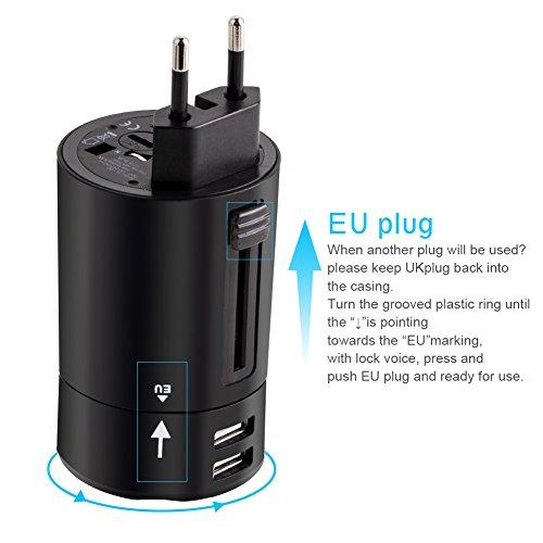 Adaptador de Enchufe de Viaje Adaptador Portátil de Rotación con Dos Puertos USB para 150 Países y Cargador de Seguridad de Fusibles para Tableta PC,Smartphones Cámaras Digitales, Reproductores de MP3 - Milool