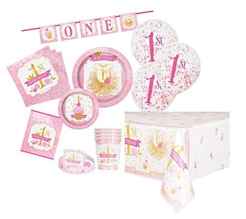 Rosa und Gold Mädchen 1. Geburtstag Party Supplies Kit für 8 ()