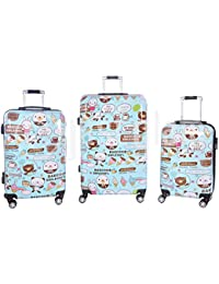 Juegos de3 maletas smile rígidas brillantes 8 ruedas de policarbonato ABS pequeño equipaje de cabina compañías lowcost compatibles cierran con candado