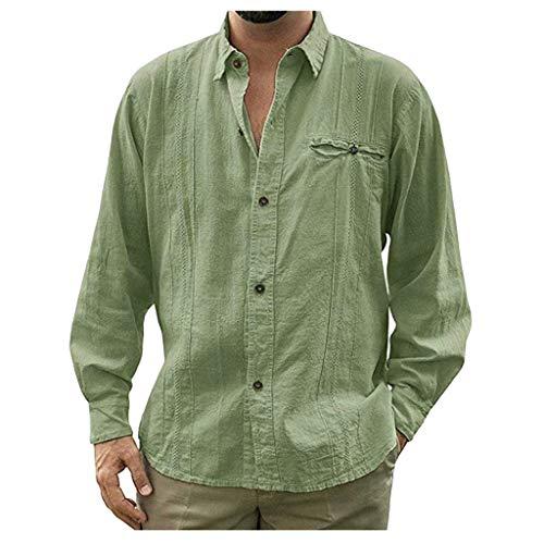 DNOQN Shirts Männer Poloshirt Slim Fit Sport Langarmshirt Mode Herren Beiläufig Umlegekragen Knopf Solide Beach Langarm Top Bluse M