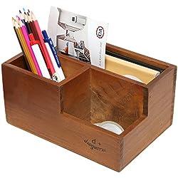 MyGift 3compartimento marrón madera escritorio oficina suministro Caddy/Soporte Para Bolígrafos/Mail soporte/organizador de escritorio