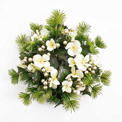 Anello decorativo XXL per candele con fiori di ortensia e