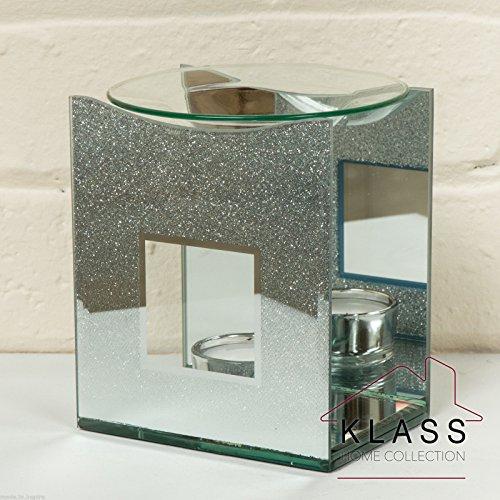 Spiegel aus Glas silber champagner gold Glitzer Yankee Candle Tart Wax Öl Brenner Wärmer Teelichthalter, glas, silber, 12 x 10 x 6.5 cm (Duftlampe Wärmer)