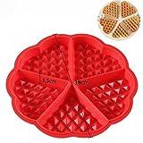 TPgobuy Herzform Silikon Waffelbackform Pancake/Pfannkuchen DIY Backen Dekoration, rot