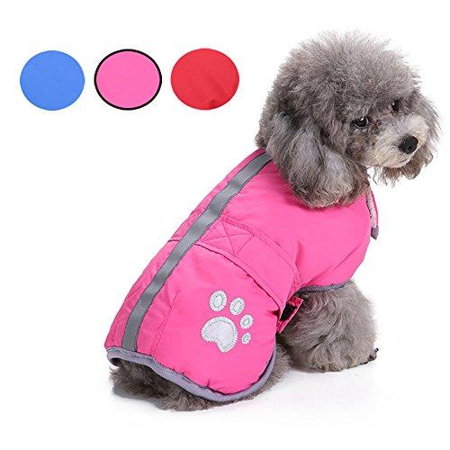 Warmer Hunde Haustier Mantel Jacke Systond Reversible Wearing Kälte-Wetter-Kleidung Leichte Fleece-Kleidung Gepolsterter Puffer-Pullover mit reflektierendem Streifen für kleine mittelgroße Hunde (Hund Jacke Sicherheitsweste)
