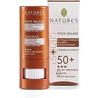 NATURE'S I Solari Stick Solare SPF 50+, Stick labbra con burro di karité, Ideale per proteggere le zone più delicate…