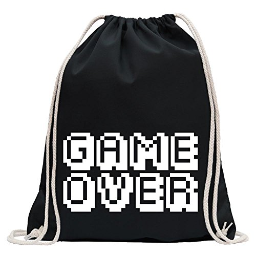 KIWISTAR - GAME OVER Pixel Schrift Turnbeutel Fun Rucksack Sport Beutel Gymsack Baumwolle mit Ziehgurt