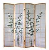 4 fach Holz Paravent Shoji Raumteiler Trennwand mit Bambusmuster