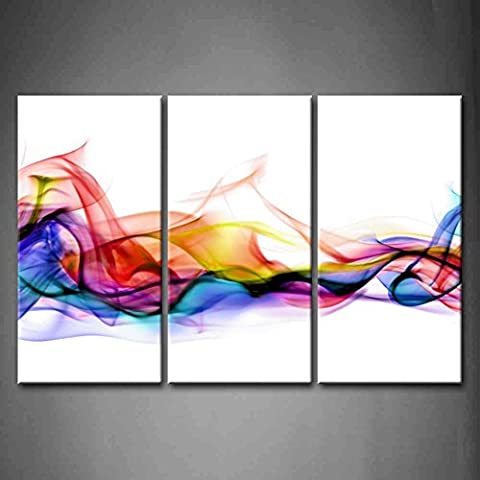 3 Panel Wall Art Fresh Look Color Abstract Smoke Colorful White Background Painting Pictures Print On Canvas Abstract The Picture For Home Modern Decoration Piece Wooden Frame Ready To Hang