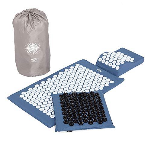 Akupressur-Set DELUXE SOFT (blau): Akupressurmatte (77 x 44 cm) Akupressur-Fußmatte mit Kissen im günstigen Set, Entspannungsmatte, Fußreflexzonen-Massage