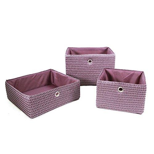 Carpemodo Korb Aufbewahrungskorb mit Innenfutter Farbe Lila/Violett Größe 24X23X16 cm Flechtkorb mit Metalgriff