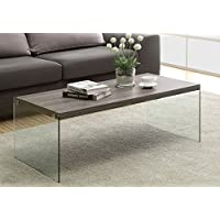 CTF OTTO Modern Design Walnut Colour Wood and Glass Coffee Table Living Room Table