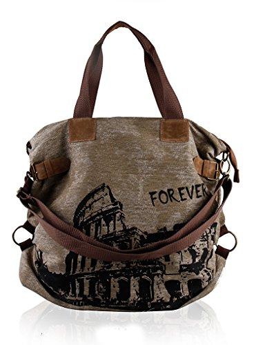 UUstar® Damen Frau vintage Schultasche Canvas Handtasche Rucksack Umhängetasche Reisetasche Ipad Kameratasche Schule Tasche (Grün)