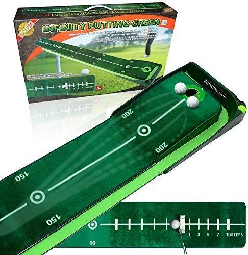 Best Track Puttingmatte Infinity mit integriertem Ballrücklauf und 2 Unterlegkeile - Home Track